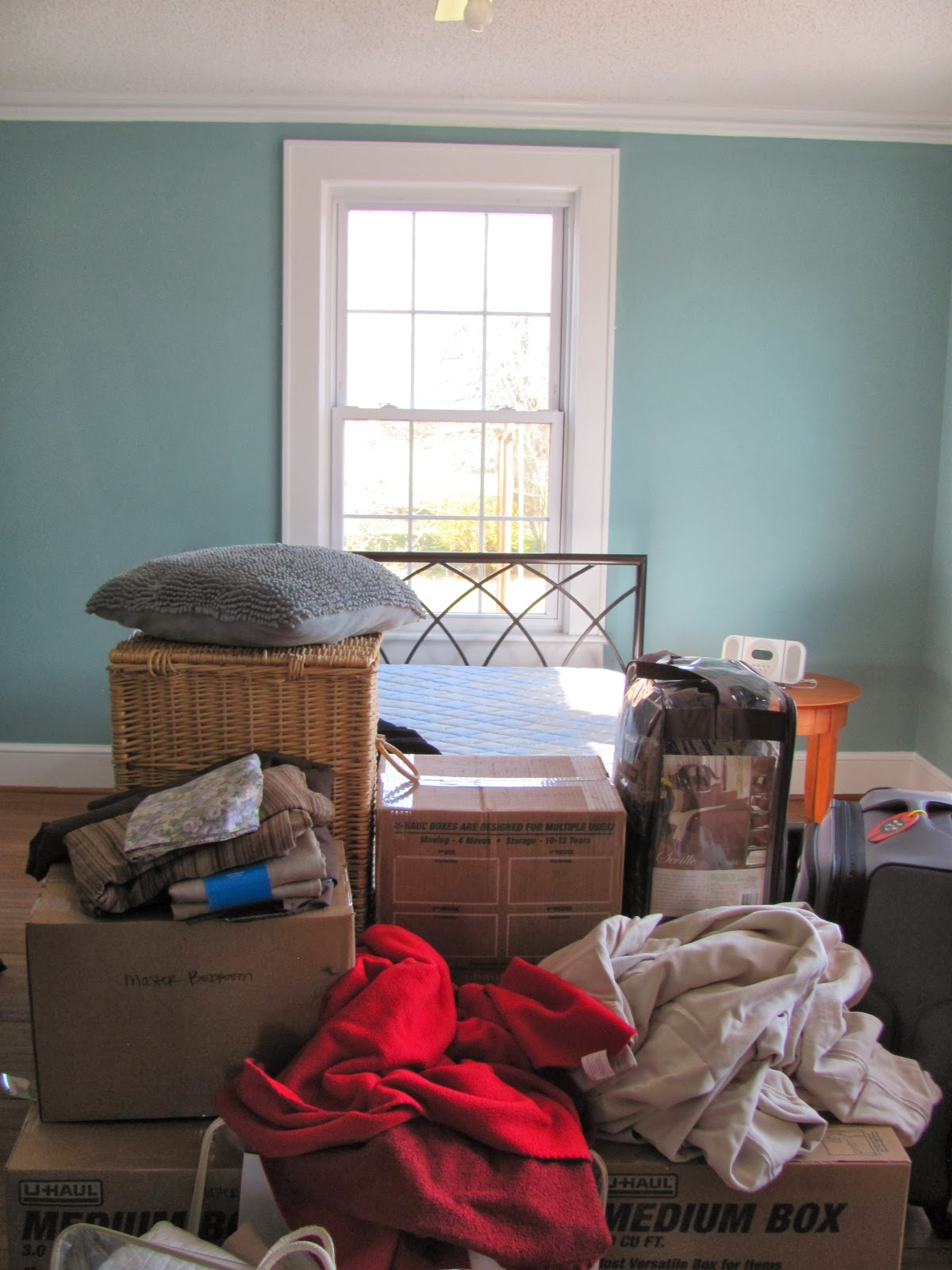 small guest bedroom before organization and redesign