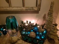 blue holiday decorations in entryway